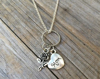Rose Mom Necklace, Charm Necklace, Rose Necklace, Heart Necklace, Necklace, Love Necklace, Gifts for her, Gifts for Mom