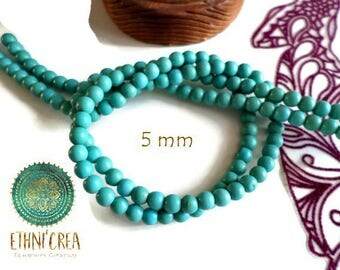 Set of 20 t02 5 mm round synthetic turquoise beads