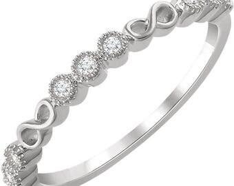 Any Color 14K Gold Infinity Design Diamond Band