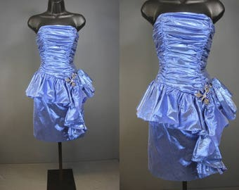 80's Prom Dress........80's Blue Lame Strapless Itty Bitty Teeny Tiny Prom Dress Party Dress Bridesmaid's Dress