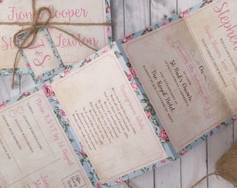 Personalised Wedding Invitations  Accordion style Floral Country Basket * Handmade* With Kraft Envelopes, Tags & Twine