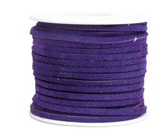 Suede Lacing - (1) 25 yard (75 foot) spool, 1/8th inch lace. Purple Suede lace. (3218x25RP)