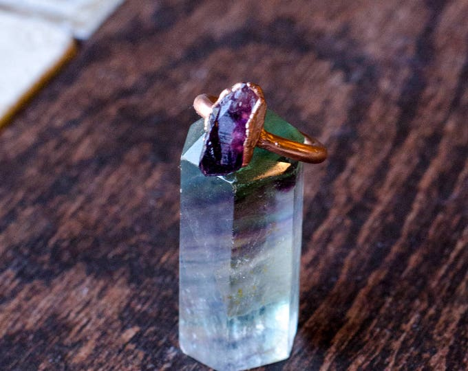 Amethyst + Copper Ring Size 7