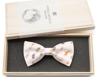 White Pineapple Bowtie -Satin, Graduation Gift, Toddler Bowtie , Wedding Ties, Groomsmen bow tie, Pre Tied and Adjustable Novioshk, H0044