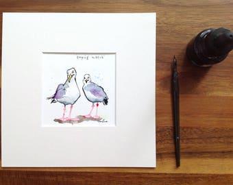 "Keeping watch - Original pen & ink drawing, watercolour painting - 8"" x 8"" gift watercolor, Seagulls, herring gull, cartoon illustration"