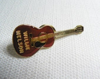 Vintage Early 80s - Willie Nelson - Red Enamel - Acoustic Guitar - Country Music - Pin / Button / Badge