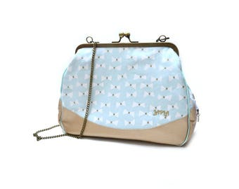Retro mint green white shoulder bag gold bows