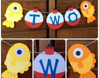 Two fishing banner -two  Fishing banner - Bobber banner - 2nd Birthday - Fishing I am 1 - Birthday Banner - Fishing -  Age banner - Bobbers