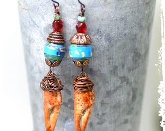 Funky Earrings, Crawfish Claw Earrings, Funny Quirky Gifts, Colorful Dangle Earrings, Unusual Gift for Her, Assemblage Earrings