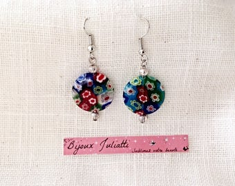 Earrings pearls multicolored millefiori
