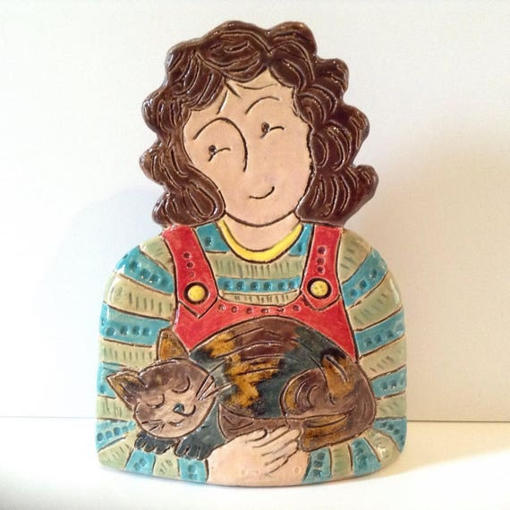 ON PRE-ORDER Lady with Cat.  Handmade ceramic bust, mini-bust, Colourful People, collectible, one of a kind