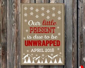 PRINTABLE Christmas Pregnancy Announcement Card–Christmas Card-Christmas Pregnancy Reveal Card-Christmas Baby Announcement-Rustic Craft-PA31