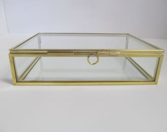 8 x 10 x 2 inch Brass and Glass Box, Photo Box.  Jewelry Box,  Keepsake Box,  Display Box,  Memory Box, Wedding Box