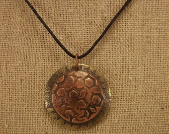 Etched Copper and Brass Disc Pendant (Hex Mesh)