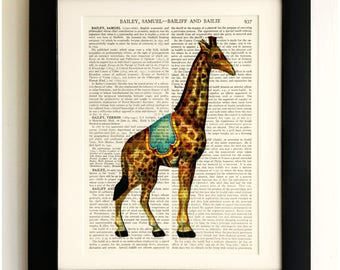 ART PRINT on old antique book page - Giraffe, Vintage Upcycled Wall Art Print, Encyclopaedia Dictionary Page, Fab Gift!