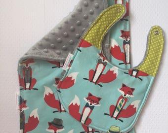 Fox in Fedora Burp Cloth and Bib set