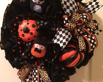Halloween Wreath, Burlap Halloween Wreath, Bird Halloween Wreath