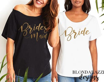 Bride and Bridesmaid Slouchy Tshirts for Day of Wedding or Bachelorette Party - Flowy scoop neeck tunic