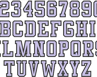Hight school varsity collegiate, block mini Font machine embroidery designs - many sizes, BX embroidery, bx font alphabet sport