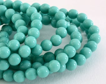 20 round 6 mm turquoise Czech glass beads