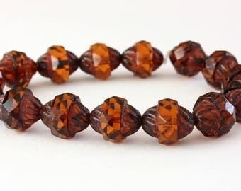 4 beads turbine Czech glass Amber Brown Picasso 11 x 10 mm