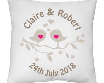 Personalised love birds wedding engagement white doves and hearts cushion cover NO PAD