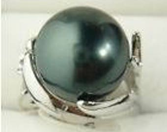 Genuine Natural 14mm Black South Sea Shell Pearl Wedding Jewelry Ring Size
