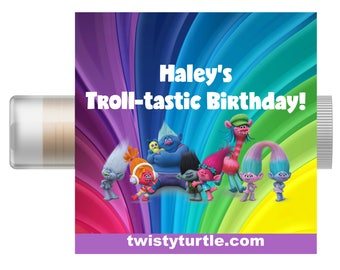 Trolls Personalized Lip Balm - Set of 5 - Trolls Birthday Favors - Custom Chapstick - Party Favor Bags - Trolls Invitation - Trolls Party