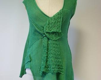 Special price. Summer handmade asymmetrical green linen tunic, L size.