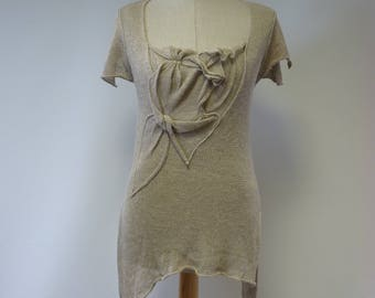 Handmade taupe linen blouse, M size. Made of pure linen.