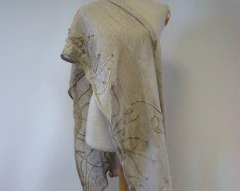 Handmade artsy taupe linen shawl. Perfect for gift.
