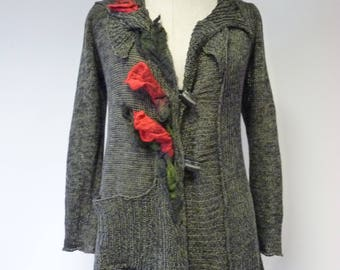 The hot price. Vintage knitted linen cardigan with felted flowers, L size.