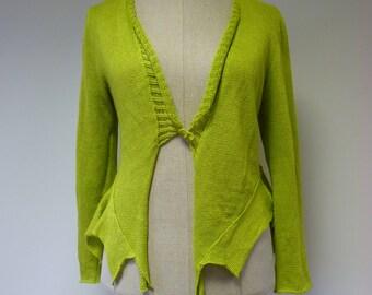 Bright green linen cardigan, L size.