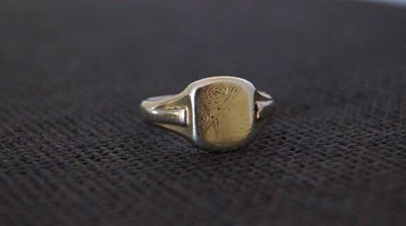 Vintage Gold Plate on Silver Signet Ring Vintage Signet Ring