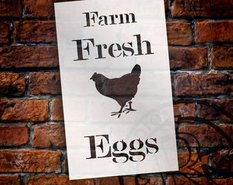 Farm Fresh Eggs - Chicken - Serif - Word Art Stencil - Select Size - STCL2057 - by StudioR12