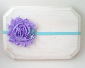 Lavender and Aqua Seashell Headband - Mermaid Cake Smash - Mermaid Headband - Lavender Headband - Aqua Headband - Beach Flower Girl Headband