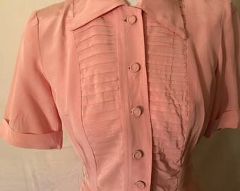 Gorgeous Pale Pink 1940's Rayon Dress Excellent Condition