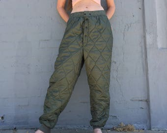 vintage 70s army quilted underwear trousers winter lining hunting pants joggers streetwear size medium