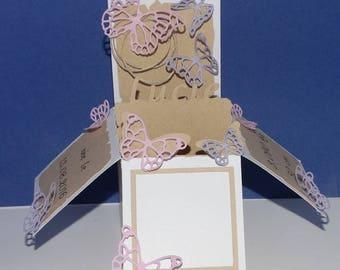 Birth announcement pop-up kraft Butterfly