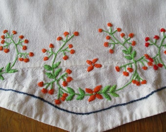 Vintage Linen Hand Embroidered Floral Dresser Scarves Or Table Runners, Set Of Two