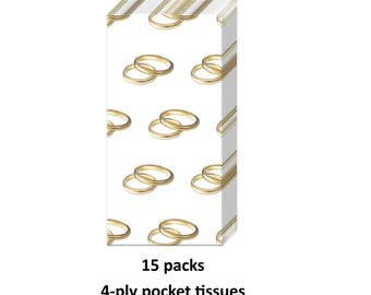 gold wedding ring tissues, 15favors, bridal shower, engagement party, decorations, pocket, purse, high quality, gold and white supplies