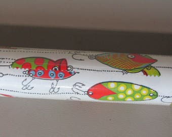 Lot of 3 rolls vintage gift wrap with fish lures