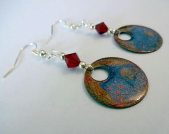 Hand painted earrings * blue, Brown and purple *.