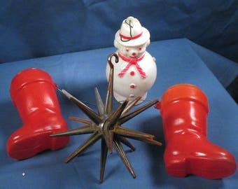 Vintage 1960s Plastic Christmas Ornaments - Set of Four