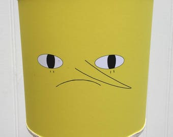 "ADVENTURE Time Earl of LEMONGRAB LAMPSHADE Drum Style Table Lamp Shade Unacceptable 6"" diameter / tall Yellow Black White"