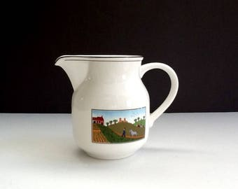 Villeroy & Boch Design Naif, White Porcelain Pitcher, Made in Luxembourg, 18 Fluid Ounces, Country Style Décor