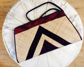 Vintage leather and straw clutch| reed handbag| vintage clutch| straw handtas| reed clutch| rieten clutch| vintage rieten tas