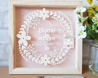 Gifts for Mum, Mother's Day gift, mum frame, mum birthday gift, papercut, papercutting, framed papercut, papercut art, home decor, wall art.