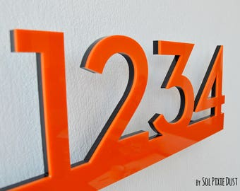 Modern House Numbers Concrete with Marine Plywood