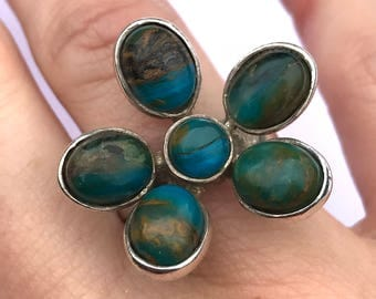 Vintage 1990s Chrysocolla Flower Ring in Sterling Silver